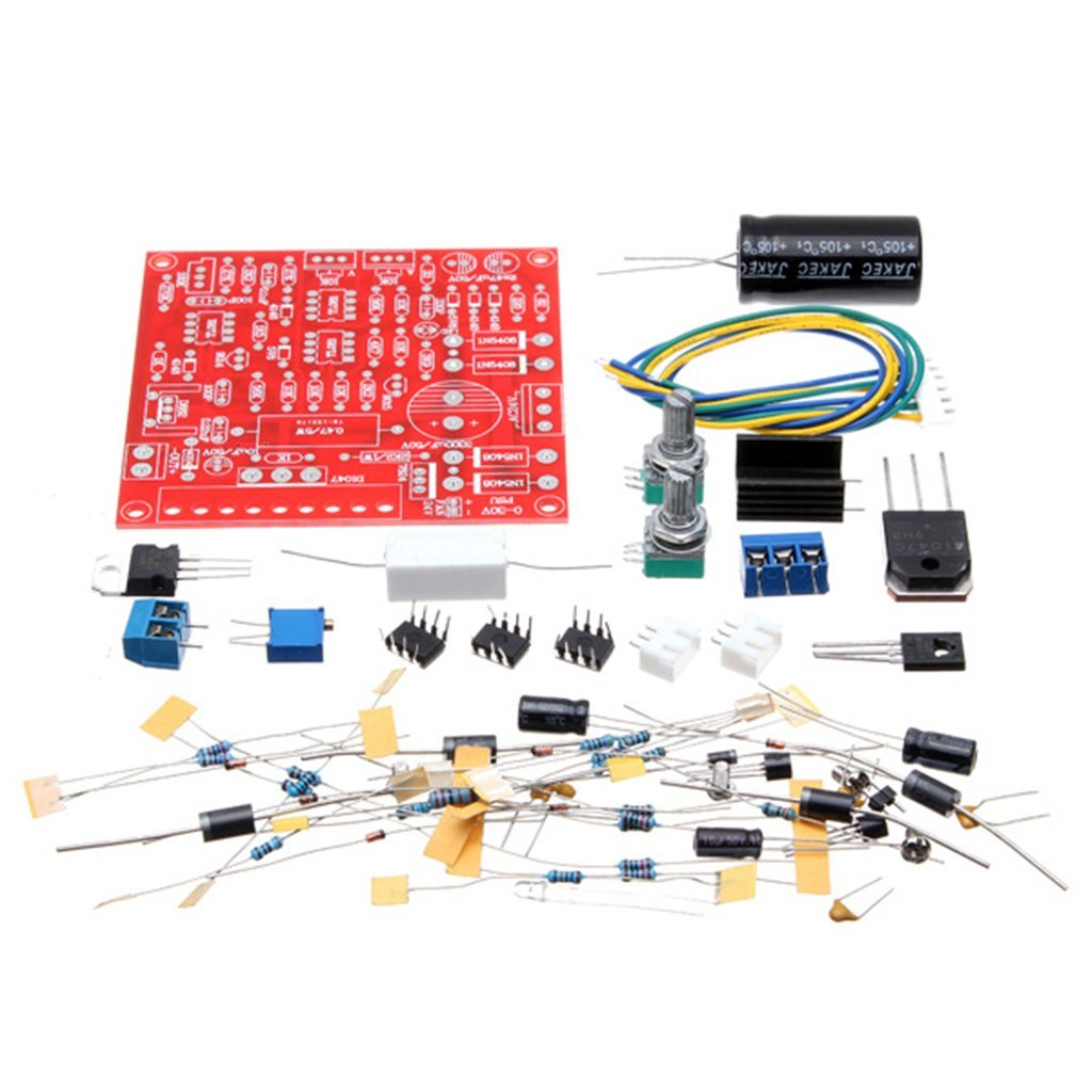 DAOKI 0-30V 2mA - 3A Adjustable DC Regulated Power Supply DIY Kit Short Circuit Current Limiting Protection Red Continuously PCB