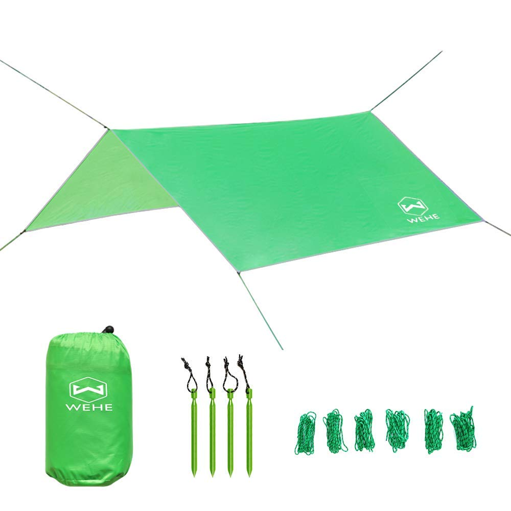 WEHE Hammock Camping Waterproof Tent Rain Fly - 210T Ripstop Essential Survival Shelter, 10' Large Lightweight Carrying Drawstring Outdoor Backpacking Tarp, Stakes Included (Light Green)