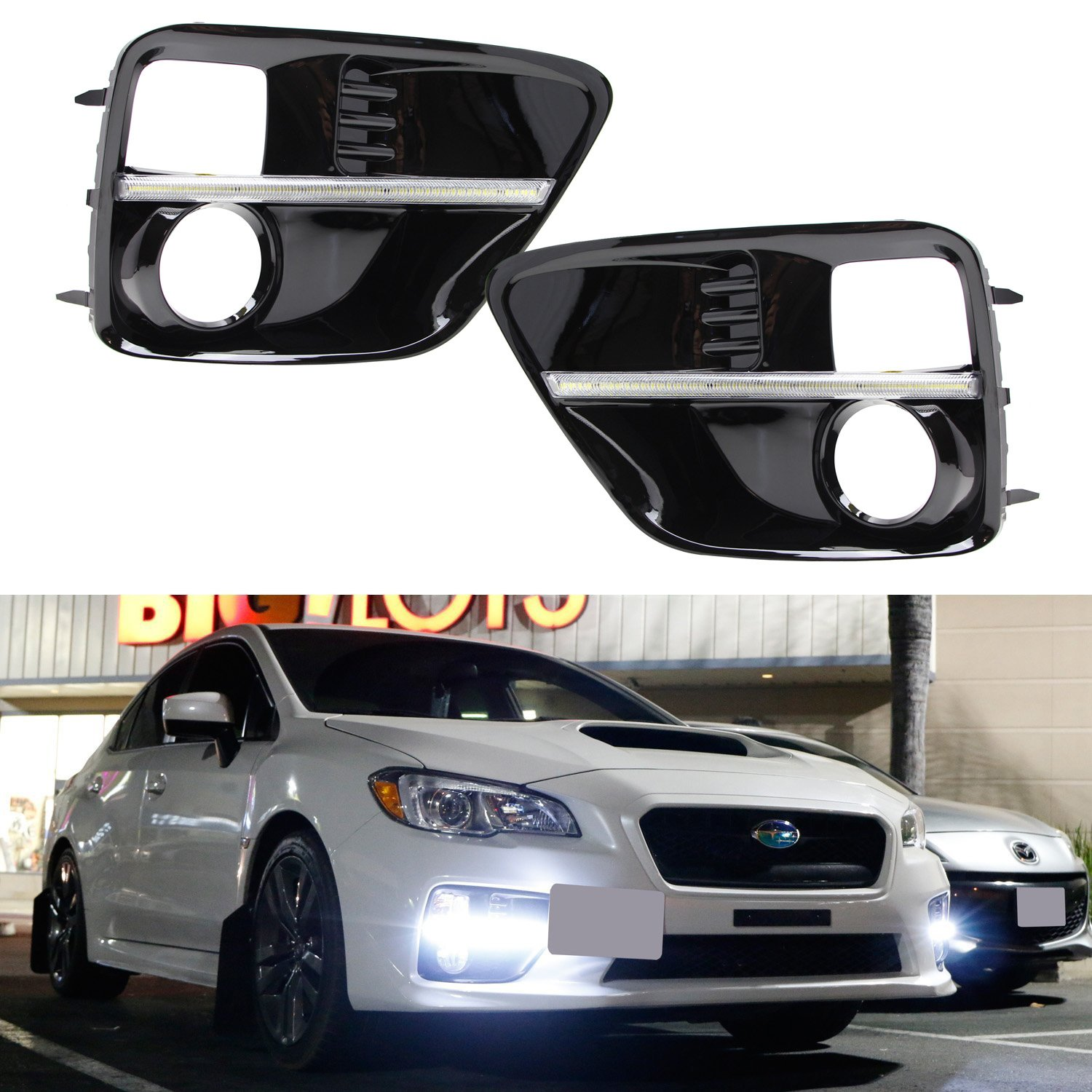 iJDMTOY JDM Style Piano Black Finish LED Daytime Running Lights, LED DRL Fog Lamp Bezel Covers For 2015-2017 Subaru WRX/STI, Xenon White