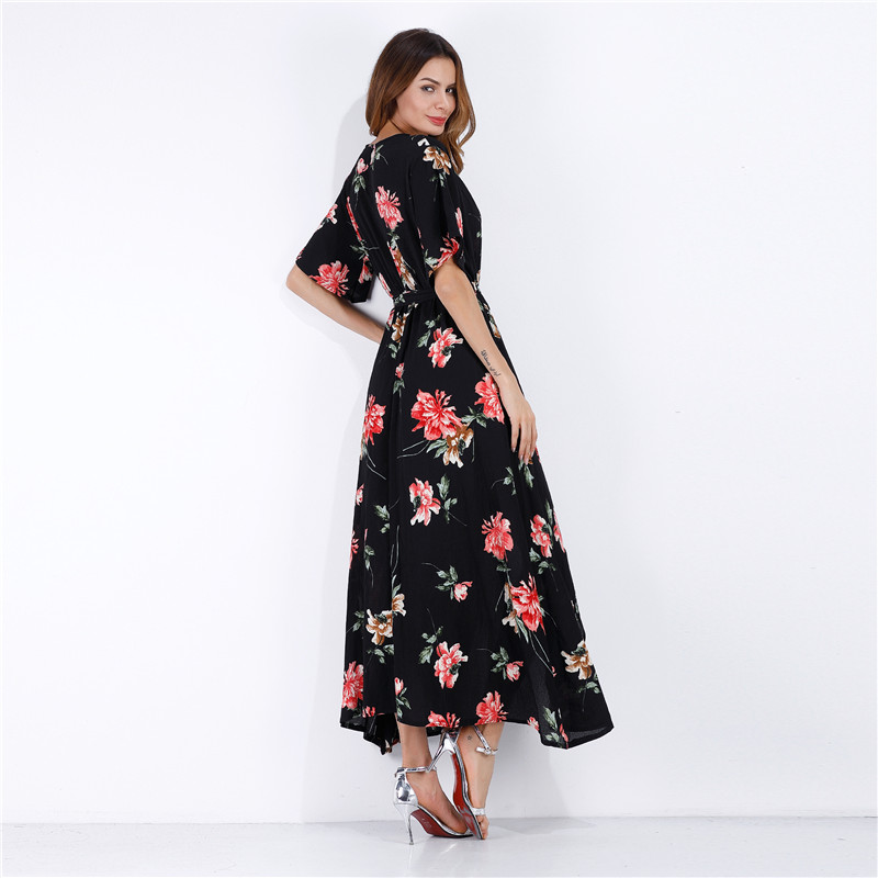 00bf2a749e Bulk Cheap China Clothing Women s Sexy V neck High Split Black Floral  Printed Beach wear wholesale