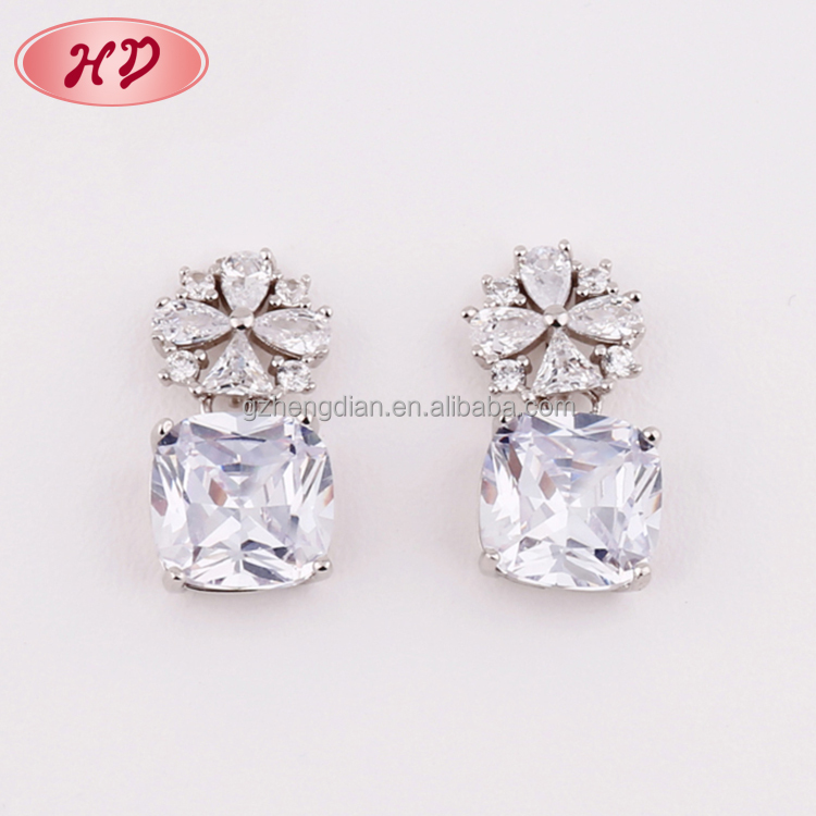 Wholesale Fashion jewellery 2017 White Gold Plated AAA Cubic Zirconia Drop Earrings woman/Platinum Plated Earring jewelry