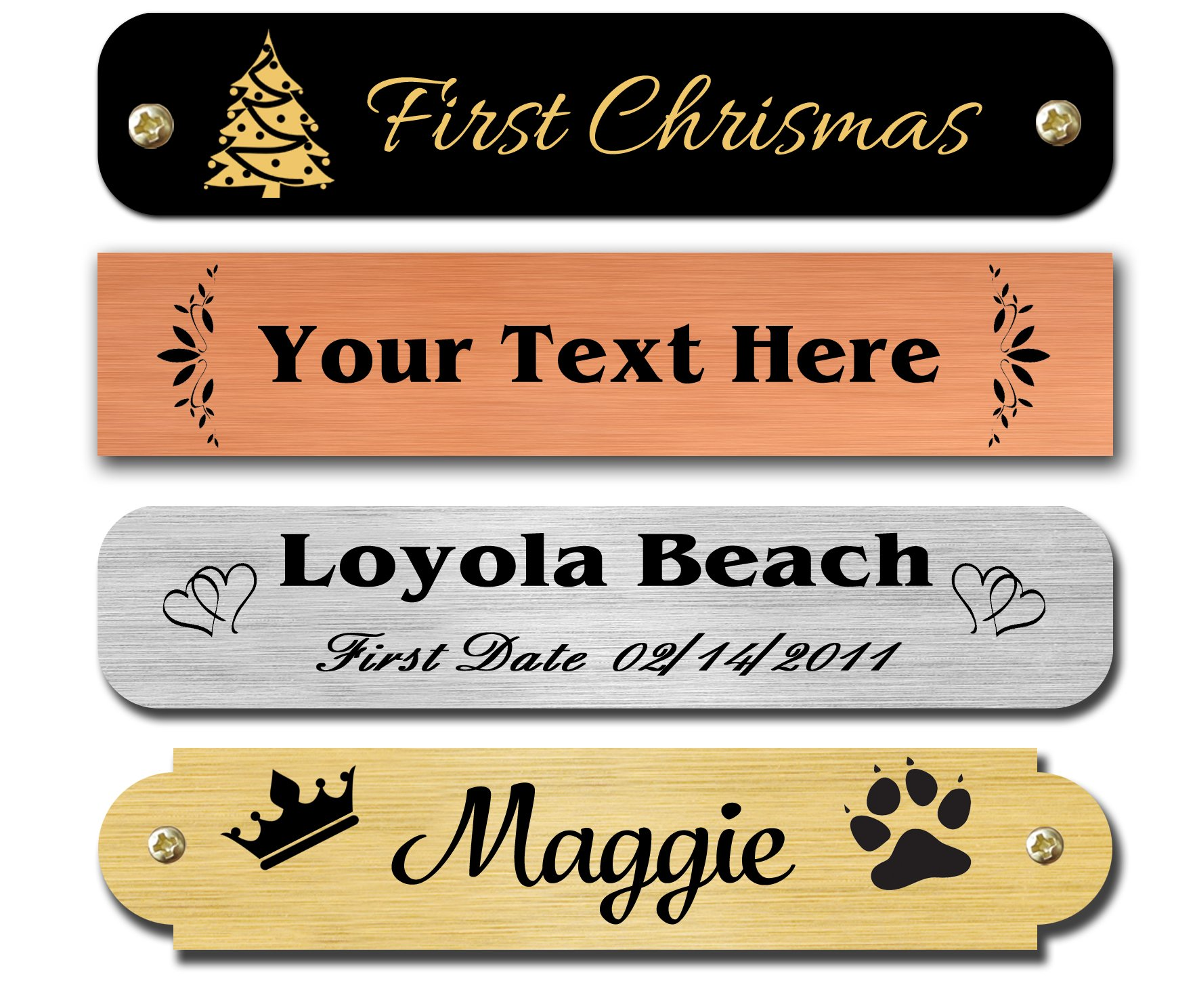 """0.5"""" H x 2.5"""" W, Brass Nameplates, Personalized, Custom Engraved Tag, Name Plaque, Square or Round Corners Made in USA (Satin Brass)"""