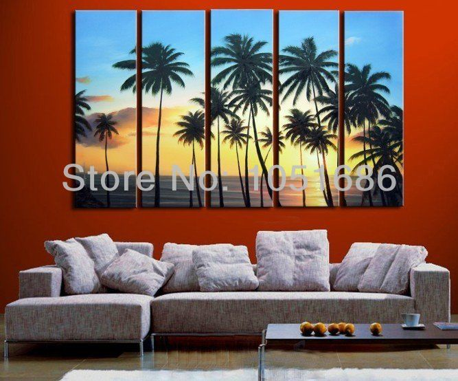 The Sea Coconut Palm Modern Sunset Landscape Oil Painting