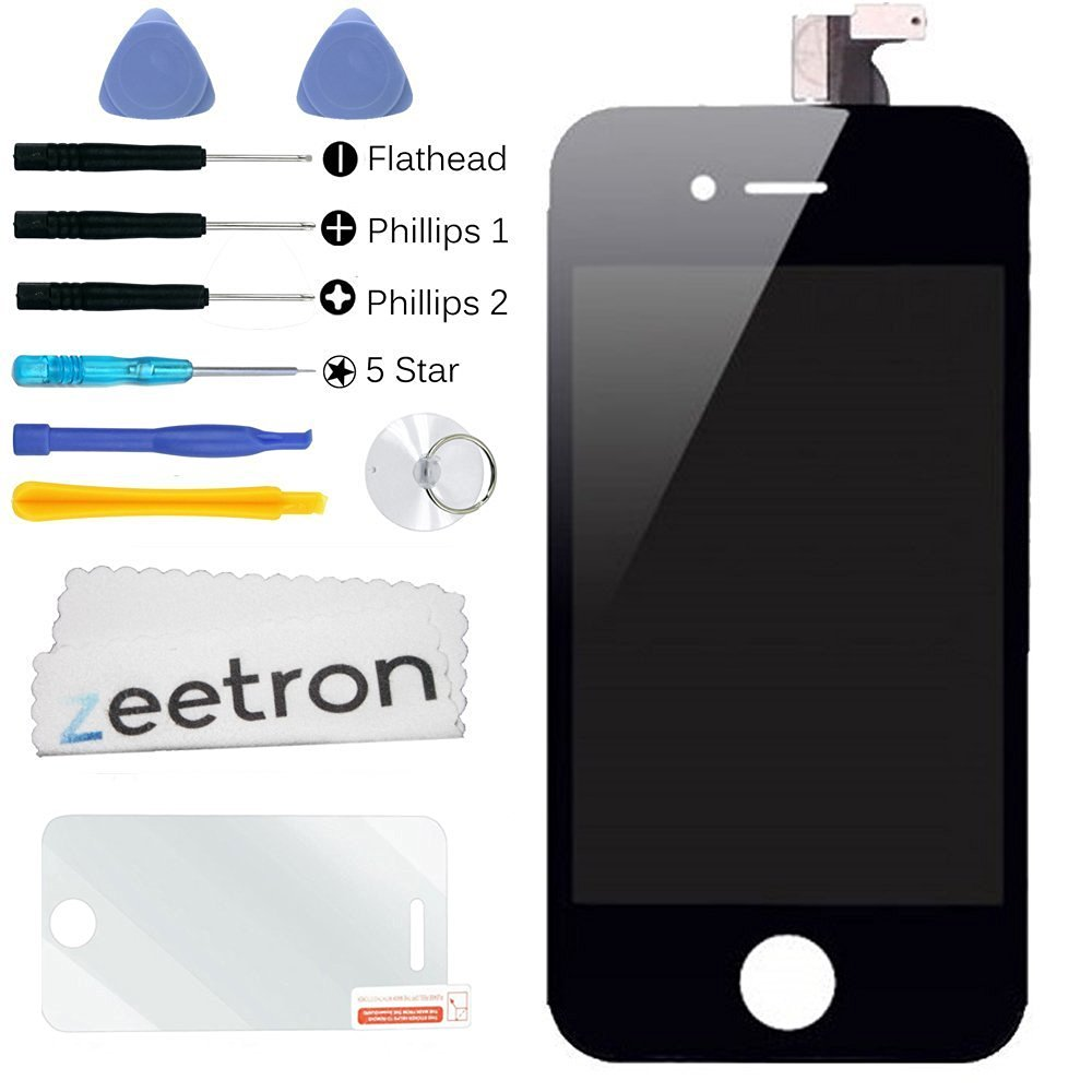 Zeetron Premium Replacement Digitizer Glass Screen Assembly Kit for iPhone 4 GSM AT&T (With Zeetron Microfiber Cloth, and 6P Tool Kit)