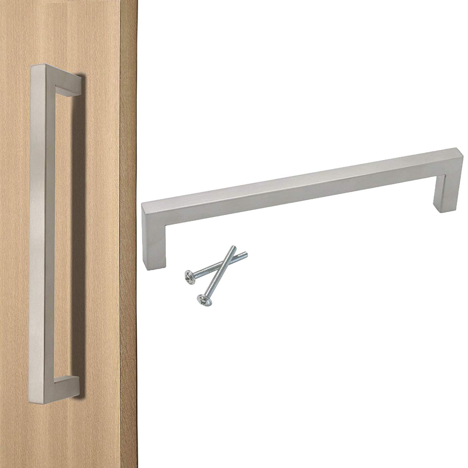 """Probrico 10mm Square Corner Kitchen Cabinet Drawer Pulls 6-1/4"""" Hole Centers Chest Handles in Brushed Nickel, 20 Pack"""