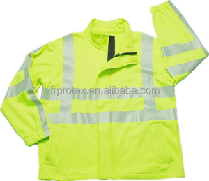 FR Hi Vis Workwear Safety Fluorescent Fleece Jacket Reflective Stripe Uniform