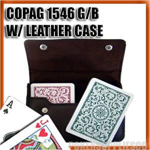 Copag Plastic Cards Leather Case Set 1546 Green/Burgundy Poker Size, Regular Index