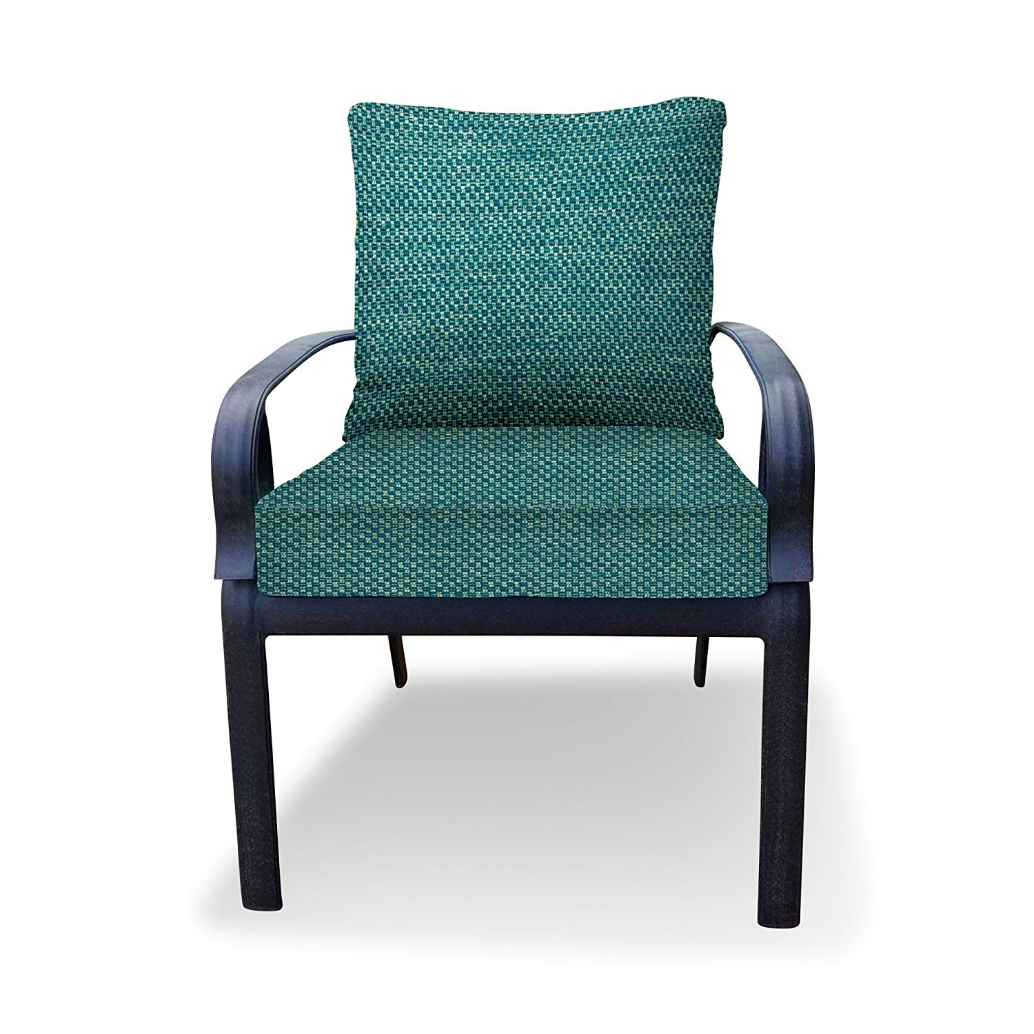 Thomas Collection Outdoor Cushions, Teal Patio Cushions, Sofa Loveseat Cushions, One Seat Cushion & One Back Pillow, Made in US, 13043