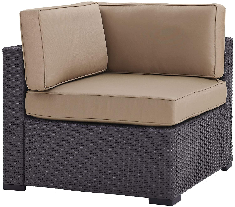 Crosley Furniture KO70126BR-MO Biscayne Outdoor Wicker Corner Chair, Brown with Mocha Cushions