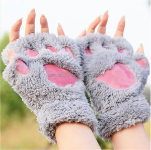Women Winter Fluffy Bear Cat Plush Paw Claw Glove Half Finger Cute Gloves