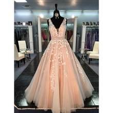 Vestido De Fiesta 2020, платье принцессы для выпускного вечера, цвета шампанского, а-силуэт, тюль, глубокий v-образный вырез, аппликация, женские вечерн...(Китай)