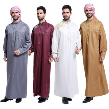 High quality cotton fabric arabic thobes long men Islamic thobe,latest design men's abaya
