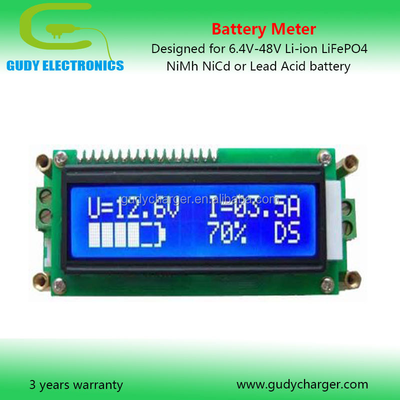 6.4V 12V 24V 36V 48V Lithium-ion LiFePO4 NiMh NiCd Lead acid battery meter tester indicator