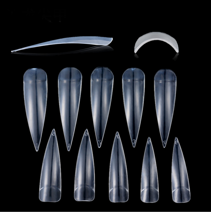 full-cover artificial <strong>nail</strong> <strong>tips</strong> False Long Stiletto ABS curved thin <strong>Acrylic</strong> Salon <strong>Nail</strong> <strong>Tips</strong>