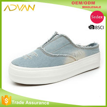 new arrival hot selling Casual Comfortable denim slipon shoes made in china womens shoes