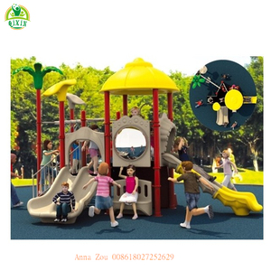 China factory own design Summer outdoor public playground slide set for daycare kids children QX-008A