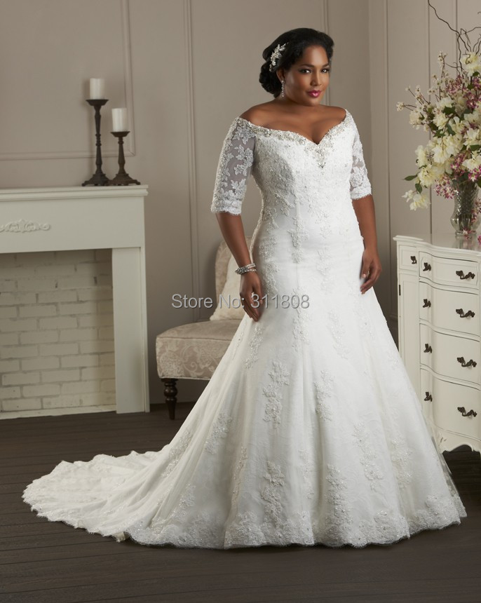 Plus Size Wedding Dresses With Off The Shoulder Sleeves ...