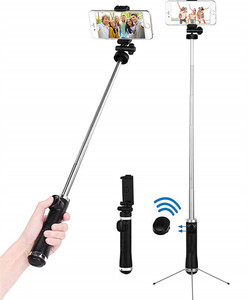 Monopod Selfie Stick with Stainless Steel Tripod and Wireless Remote Shutter Extendable