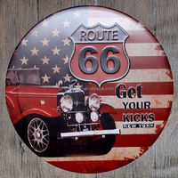 Route 66 Car Vintage Embossed Metal Tin Sign Nostalgic Art Poster Retro Plaque\Plate for bar pub home restaurant decor