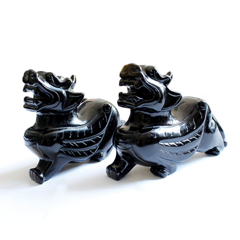 black obsidian hand carved Pixiu natural fengshui energy obisdian stones for home decoration