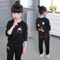 2017 new design korean kids girl wear winter baby clothes sports set autumn for children