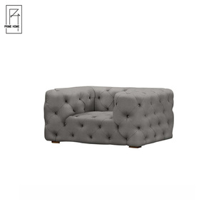 Vintage Tufted Gray Buttoned Tub Velvet Fabric Curved Sofa ,Antique Sofas Furniture,Sofa Set