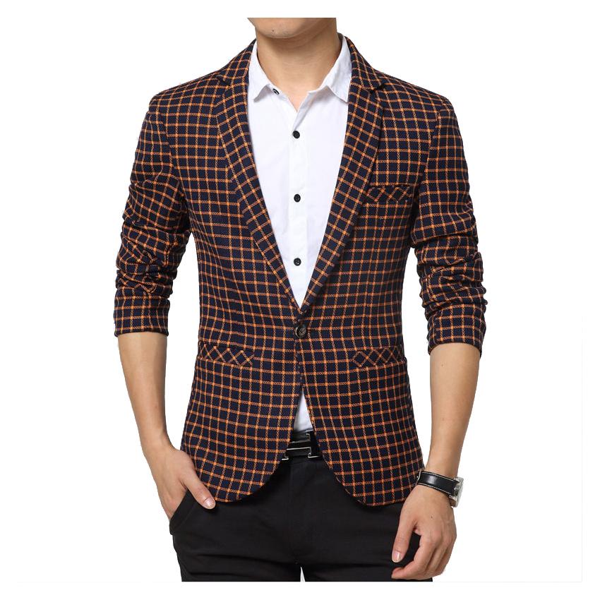 Buy Men Suit European Classic One Button Lattice Grid Check Blazer ...