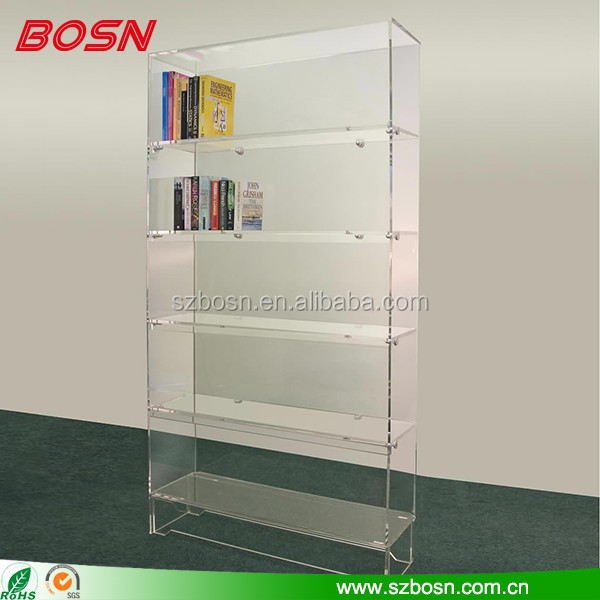 New Product Acrylic Leaning Bookshelf In School Library Bookcase