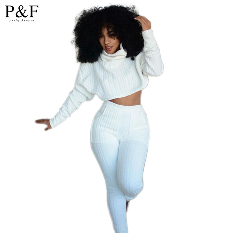 7cad3f22703 2015 New Arrival Two Piece Bodycon Jumpsuit Sexy Women white long Sleeve  Bandage crop top Jumpsuit for Women Party high-necked