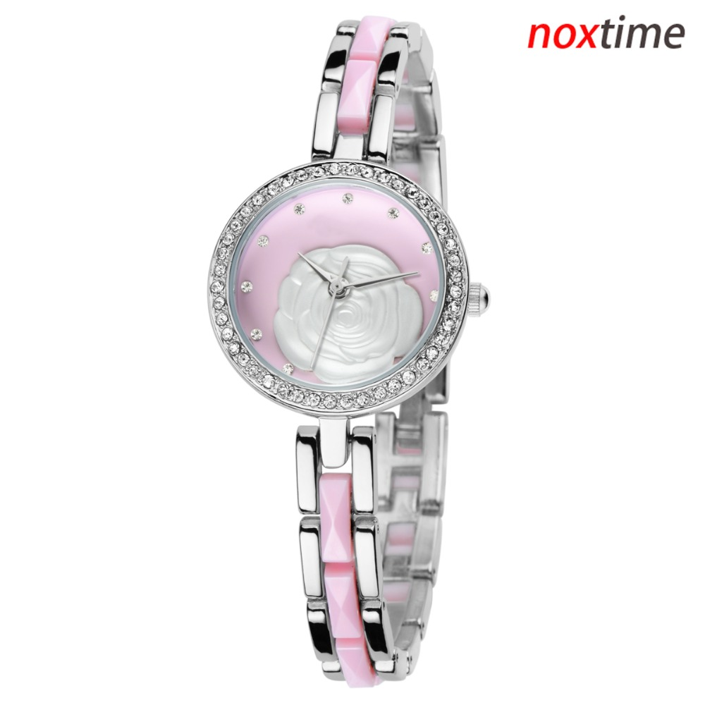 rose ladies wristwatch rased up rose on dial gold silver blak pink lady jewelry watch