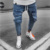 New men's biker jeans jogging  elastic waist pockets  feet pants youth fashion new jean high quality male cotton pants