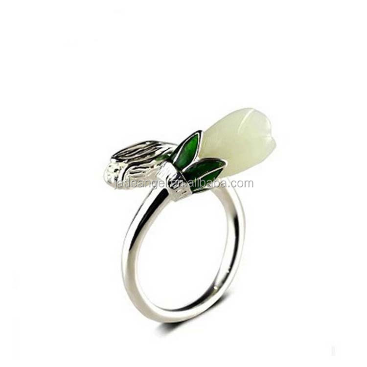 Adjustable Retro Enamel Sterling Silver Ring with Natural Hetian Jade Carving Flower