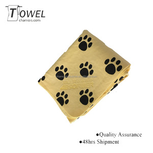 High quality pva material plain dyed dog towel for dog washing cooling towel pet supplies dog foot printing