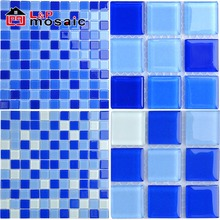 2018 hot sale cheap blue crystal glass mosaic tile