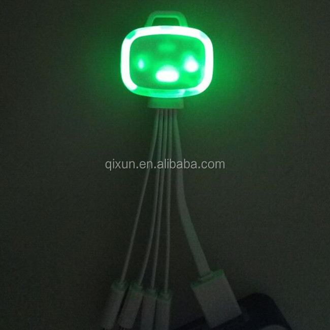 Logo Customized usb special cable with led light, LED Rainbow USB Cable 15cm