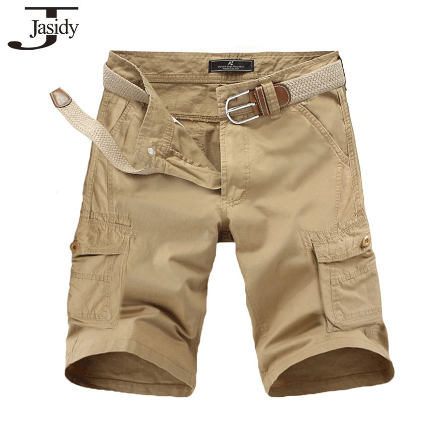 New 2015 Mens Cargo Shorts Knee Length Loose Casual Shorts For Men Solid Plus Size Fashion Brand Cotton Shorts Male Multi-Pocket