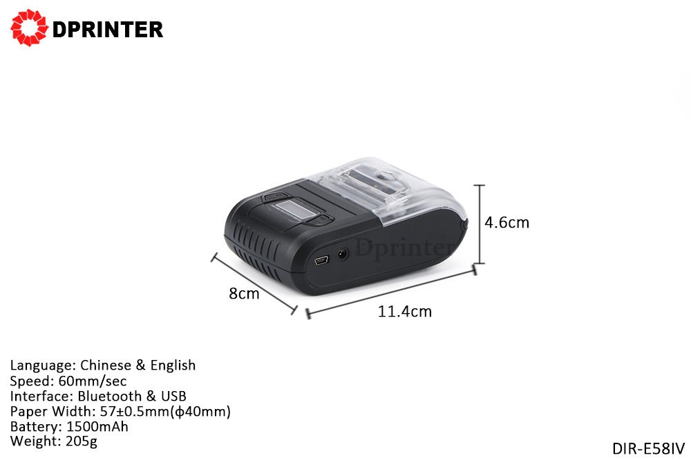 Dprinter Mini Wireless Bluetooth 58mm Portable Mobile Thermal Receipt Printer with LCD Display Pos Printer for Android iOS