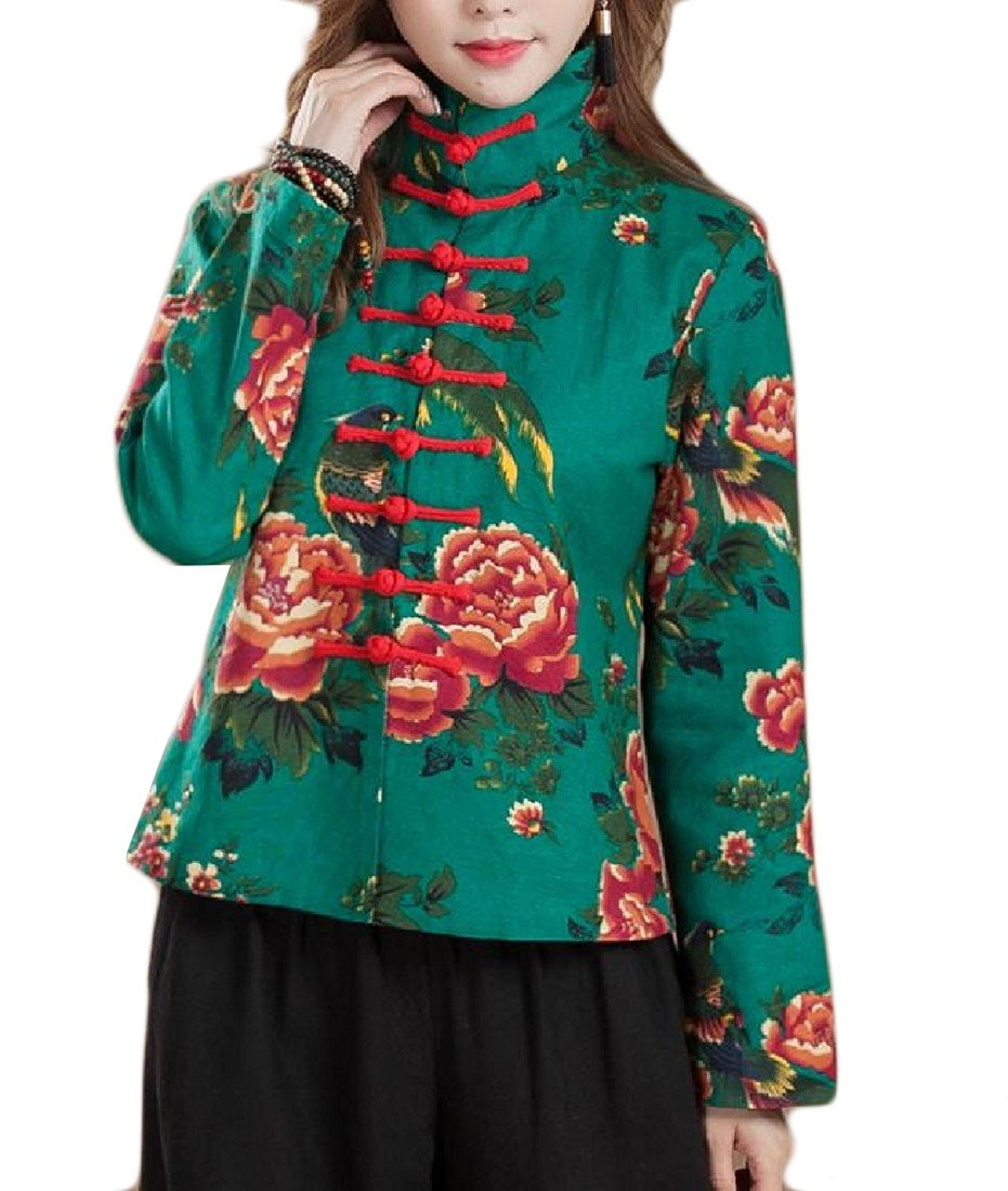 Sheng Xi Women's Stand Collar Floral Printed Chinese Style Parka Jacket