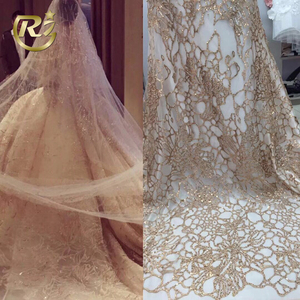 GY-49 New Arrival 2018 Sequin Sparkle Tulle Net Embroidery Guipure Wedding Lace Fabric