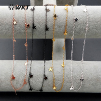 WT-N978 Wholesale fashion hot young girl high quality Necklace24K real gold /gun black / rose gold /silver little star necklace