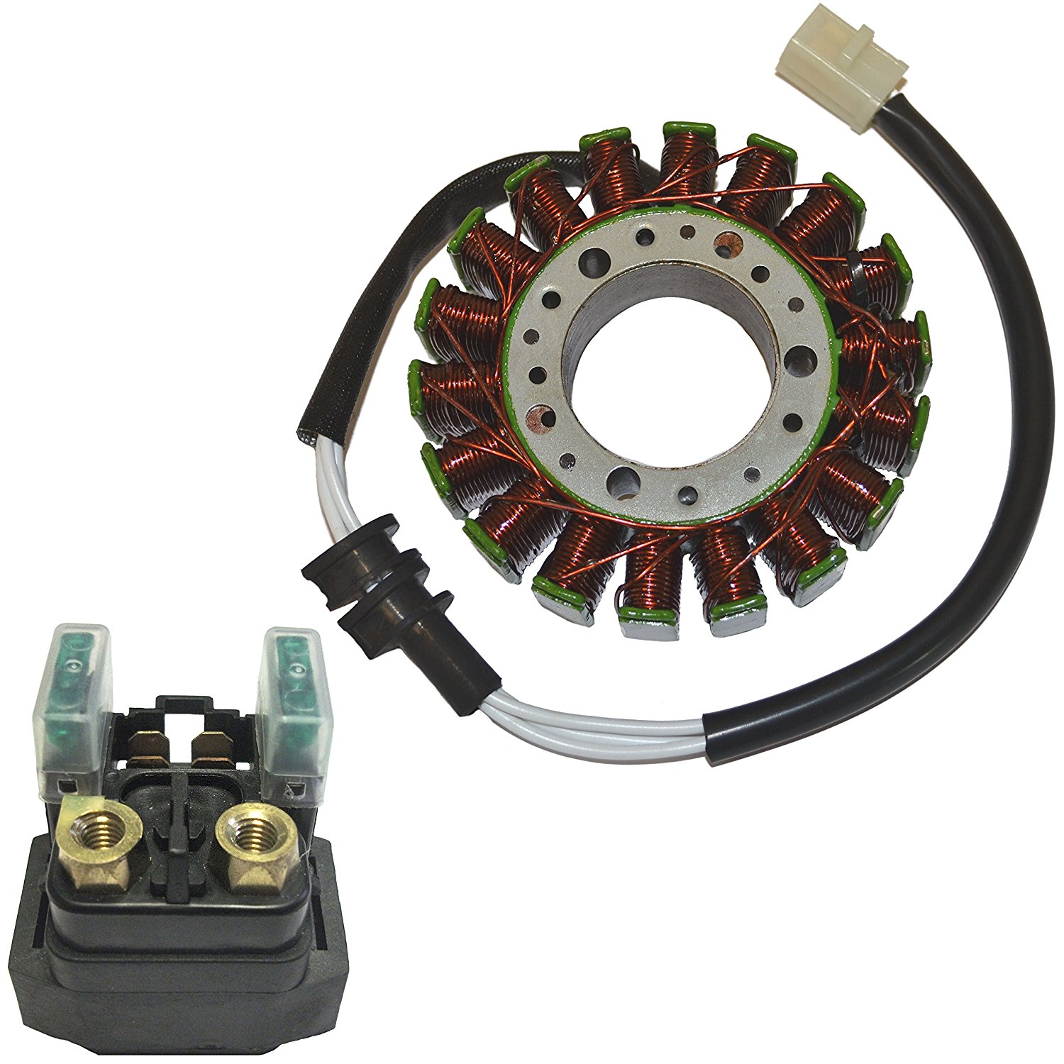 Magneto Stator Coil & Starter Relay for 1999-2002 Yamaha R6 YZFR6 YZF-R6 Motorcycle