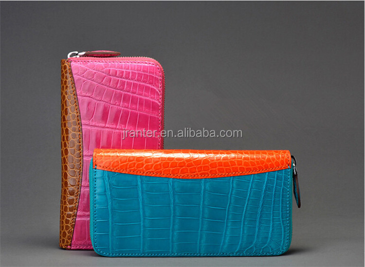 Fashion long design crocodile skin lady zipper wallet genuine leather wallet women