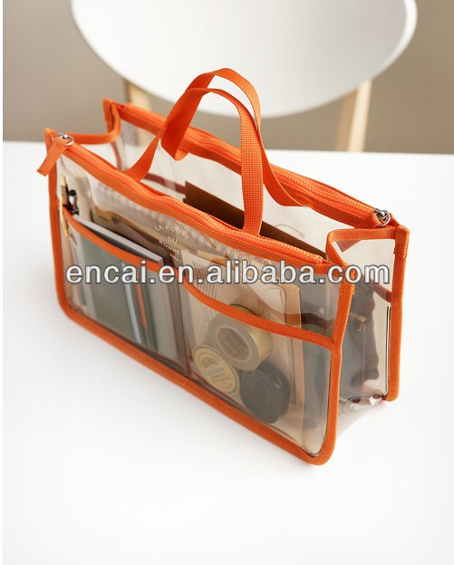 Encai Factory New Design PVC Travel Bag Organiser For Cosmetic/ Makeup Bag In Bag/Handbag Organizer Inserts With Double Zipper