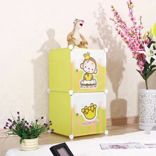 2 cubes Carton door lovely kids gift box can hold cothes, toys,books(FH-AL009-2)