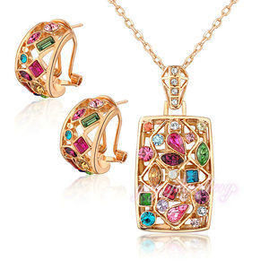 Fashion jewelry china rose gold colorful stone jewelry set