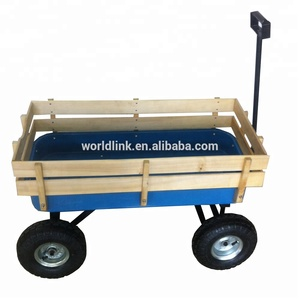 High Quality Garden Wooden Wagons Toy Trolley For Kids