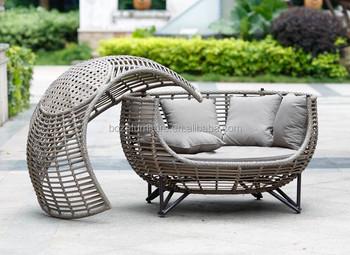 pe osier salon de jardin en plein air canap lit chaise longue avec jardin couvert - Lit De Jardin