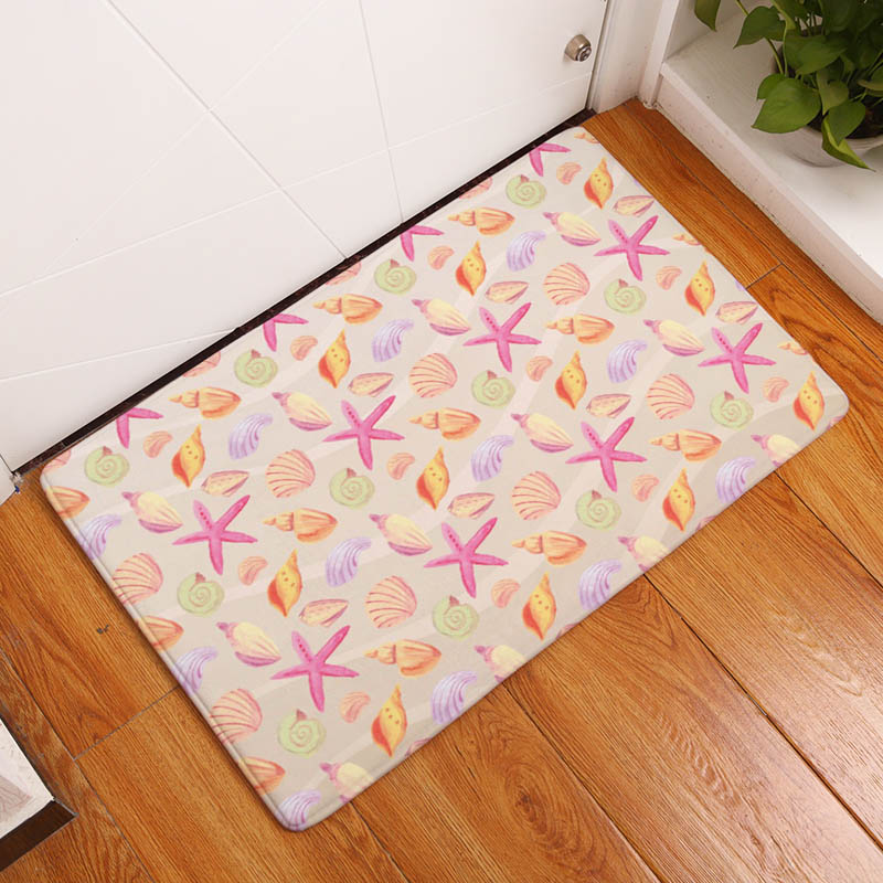 Coral Printing Flannel Carpet Hippocampus Pattern Mat For Living Room  40x60cm Door mat Rectangle Tapete - us898 ad5329817a