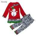 Niosung New Kids Child Girls Christmas Party Snowman Bowknot Long Sleeve Tops Long Pant