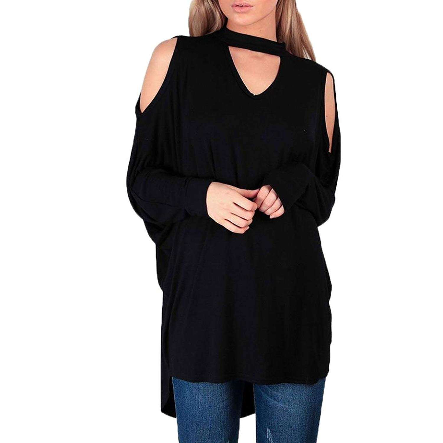 MOONHOUSE Womens Lagen Look Cold Cut Shoulder Baggy Tops Choker Neck Sexy Shirts Loose Long Sleeve Pullover Blouse Plus Size